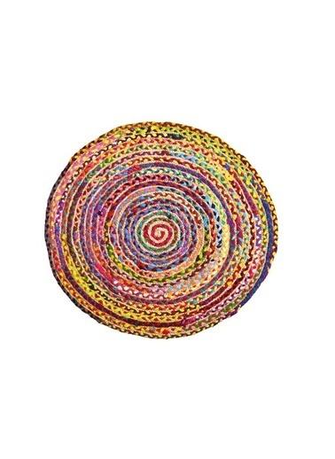 Giz Home Bolero Jüt Örgü Halı 90X90 Y2-2014 Yuvarlak Çok Renkli Renkli